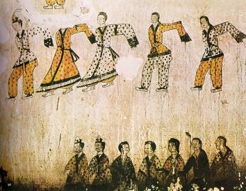 Korean-wall-painting-depicting-dance